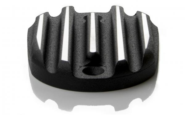Handbrake cylinder cover ribbed - blach/cut - Sportster - 2004 - 2019